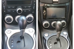 2009 Nissan 370z with hydrographics on shifter - before & after