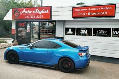 2015 Subaru BRZ - custom sound system featuring a Kenwood Excelon Navigation head unit, JL AUDIO HD900/5 five channel amplifier, JL AUDIO C5-653 three way component speakers up front and a JL AUDIO 10W-7 Anniversary Edition sub in a custom ported enclosure.