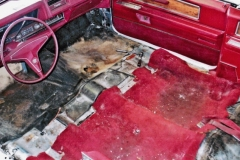 1965 Cadillac full reupholstery - seats removed to relace carpeting