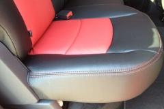 Dodge Ram - close-up of Katzkin two toned leather seat