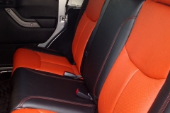 2015 Jeep Wrangler - front row of custom two toned Katzkin leather interior