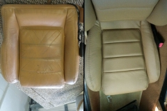 Mazda Miata seat bottom before and after reupholstery